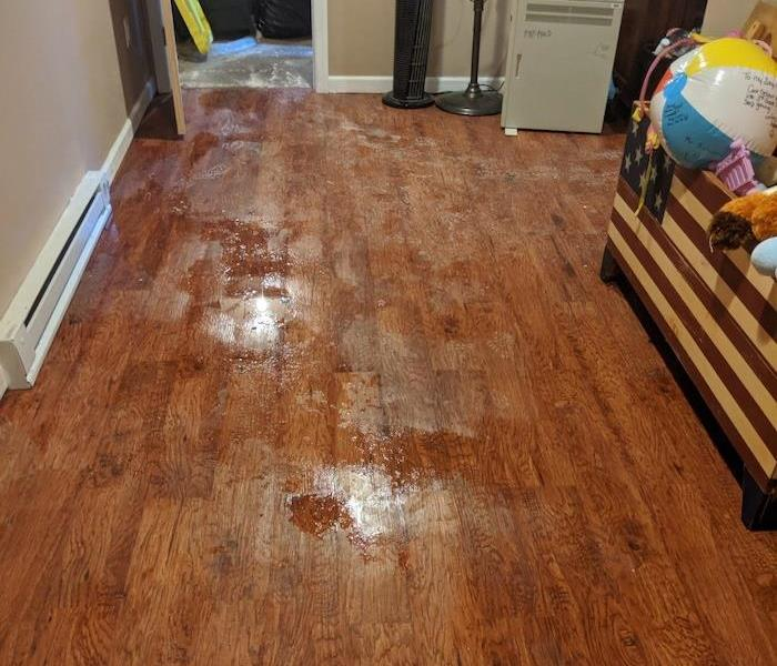 Wood patterned laminate floorboards with sewage water damage