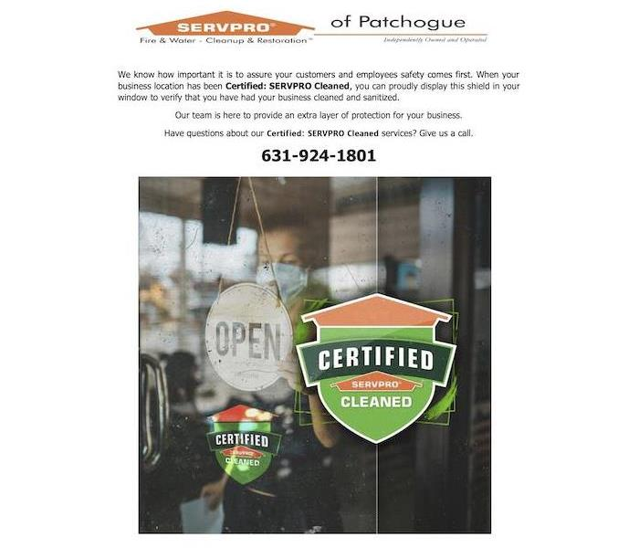 Flyer about Certified: SERVPRO Cleaned and photo with a businesses window and an open sign