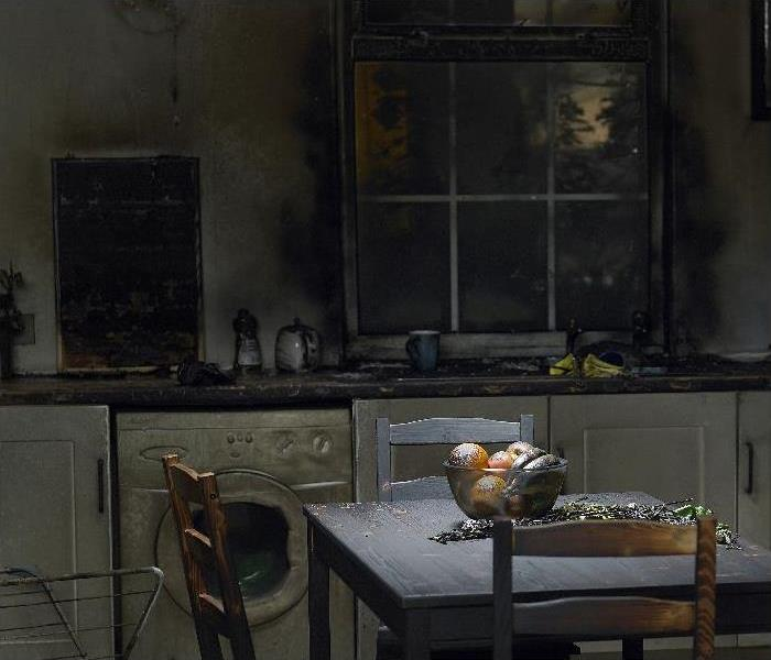 Domestic kitchen burnt in fire